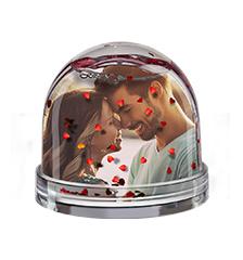 Boule à paillettes coeurs de Pixum avec votre photo