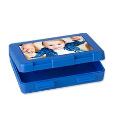 Boîte sandwich bleue de Pixum avec votre photo