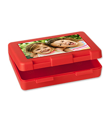 Boîte sandwich rouge de Pixum avec votre photo